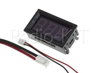 Амперметр цифровой DC0-10A с LED-индикатором 0.56 дюйма красный, корпус черный