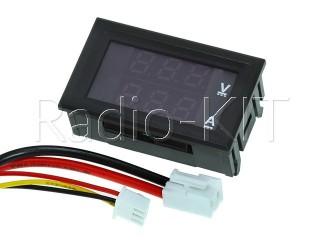 Амперметр-вольтметр цифровой DC0-100V/ 10A красно-синего свечения, корпус черный