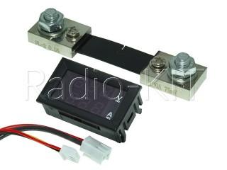 Амперметр-вольтметр цифровой DC0-100V/100A красного свечения, корпус черный