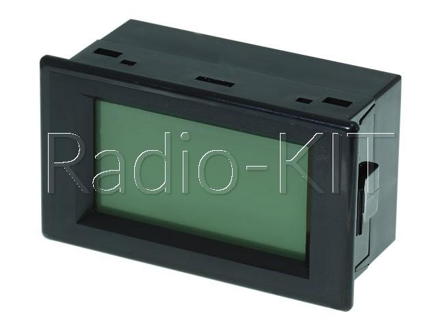 Вольтметр цифровой AC 220V с ЖКИ-индикатором D85-120 синяя подстветка, корпус с крышкой
