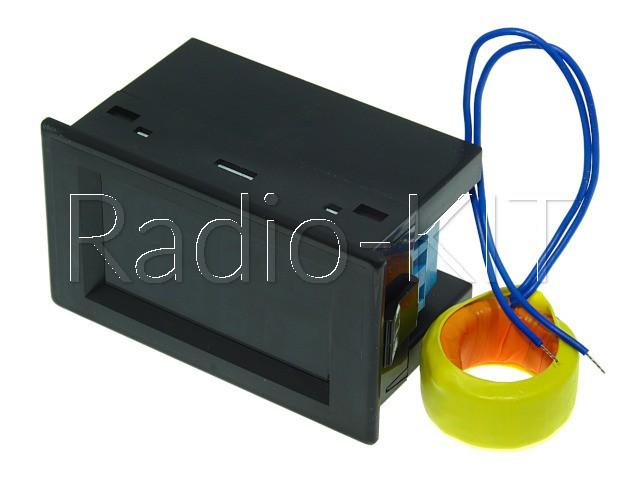 Амперметр-вольтметр цифровой AC200-450V/ 100A сине-желтого свечения D85-2042A, корпус черный