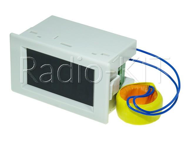 Амперметр-вольтметр цифровой AC200-450V/ 100A сине-желтого свечения D85-2042A, корпус белый