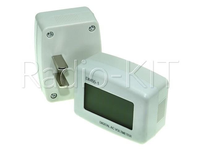 Вольтметр цифровой AC 220V с ЖКИ-индикатором DM55-1 синяя подстветка, корпус белый  розеточный