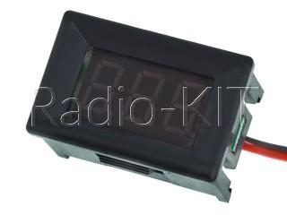 Вольтметр цифровой DC 4.5-30V с LED-индикатором 0.36 дюйма зеленый, корпус черный DSN-DVM-368K