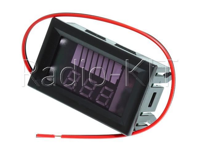 """Индикатор заряда аккумулятора с LED-индикатором и вольтметром 12-60V (0.56"""" синий)"""