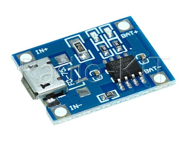 Плата зарядки Li-Ion аккумуляторов USBmicro на TP4056 FC-75 Модуль