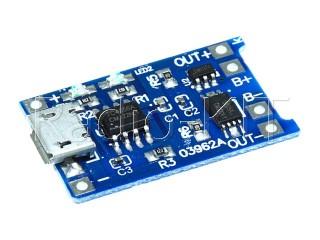 Плата зарядки Li-Ion аккумуляторов USBmicro на TP4056 FC-75 с защитой DW01 Модуль