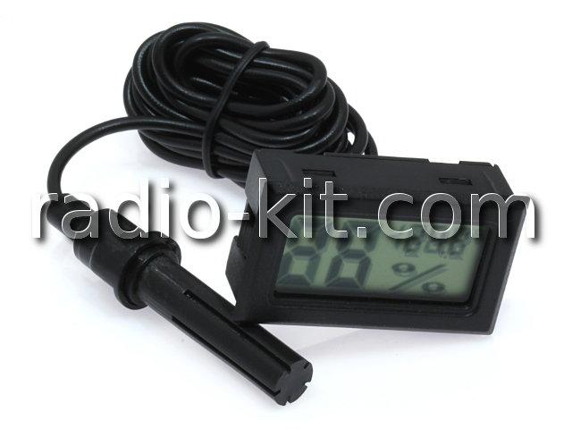Термометр-гигрометр цифровой ЖКИ  черный с датчиком на проводе FY-12