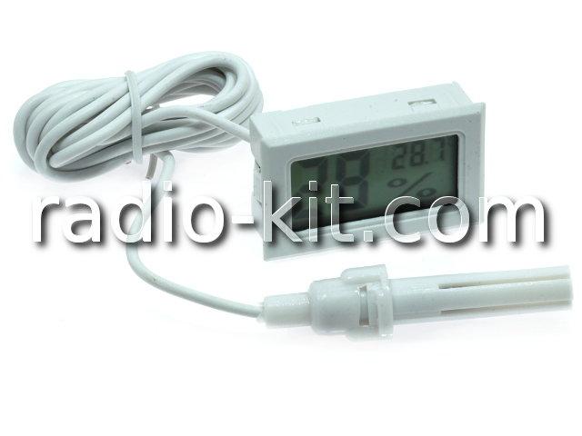 Термометр-гигрометр цифровой ЖКИ белый с датчиком на проводе FY-12