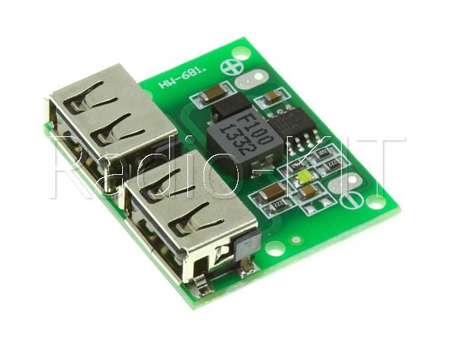 Преобразователь DC-DC понижающий USB выход сдвоенный HW-681 Модуль