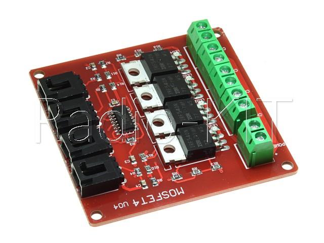 Полупроводниковый ключ, драйвер на MOSFET-транзисторах IRF540 4шт Модуль