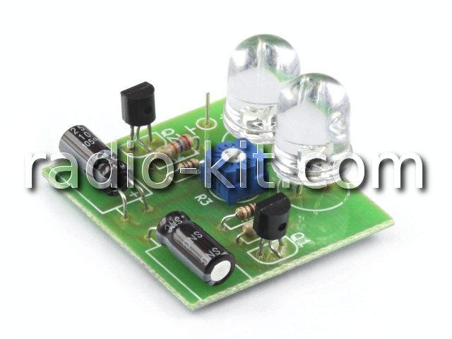 Световой эффект мультивибратор-мигалка,  2 светодиода K122 Набор