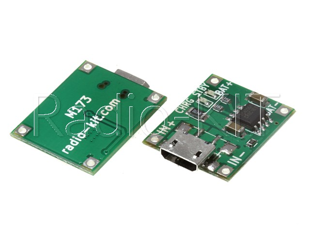 Плата зарядки Li-Ion аккумуляторов с USBmicro на TP4056 M173 Модуль