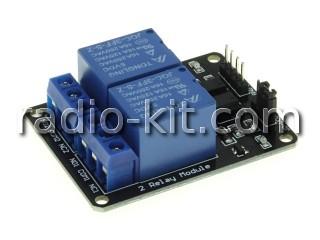 Плата реле управляемые — 2 шт оптоизолированные(PC817) на  5VDC Модуль