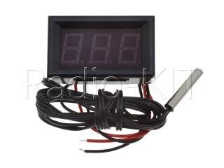 Термометр цифровой с LED-индикатором 0.56 дюйма зеленый, корпус черный, с датчиком на проводе 1м
