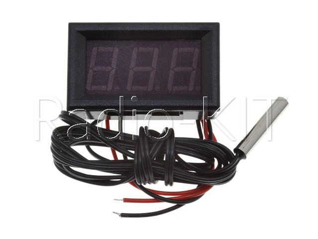 Термометр цифровой с LED-индикатором 0.56 дюйма синий, корпус черный, с датчиком на проводе 1м
