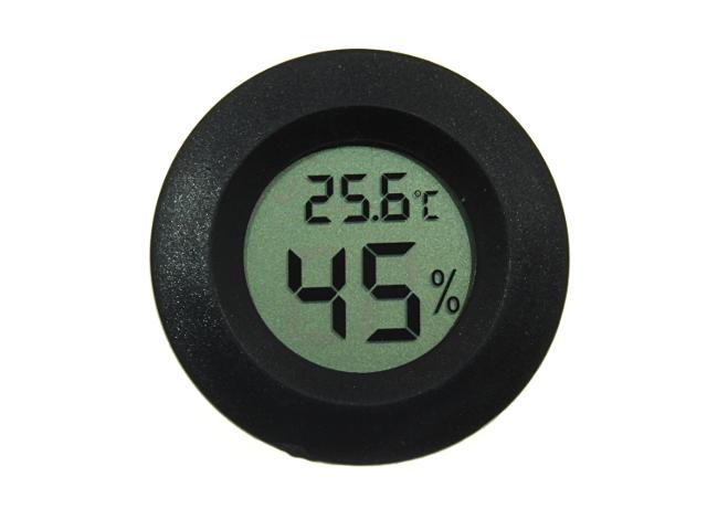 Термометр-гигрометр цифровой ЖКИ круглый черный
