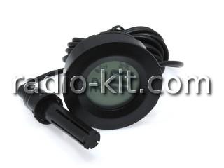 Термометр-гигрометр цифровой ЖКИ круглый черный с датчиком на проводе