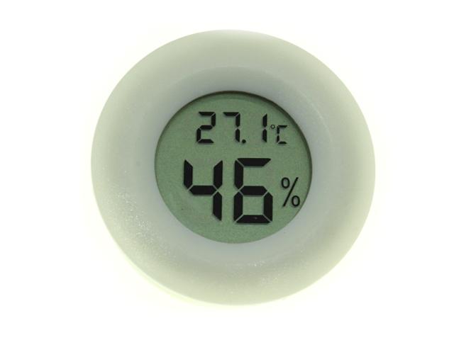 Термометр-гигрометр цифровой ЖКИ круглый белый