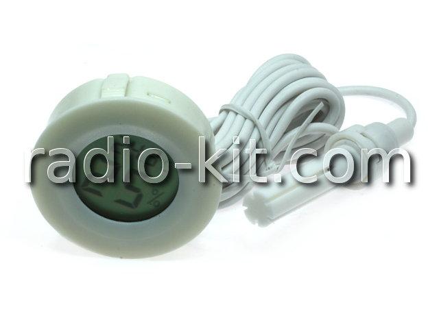 Термометр-гигрометр цифровой ЖКИ круглый белый с датчиком на проводе