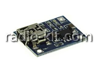 Плата зарядки Li-Ion аккумуляторов USBmini на TP4056 Модуль