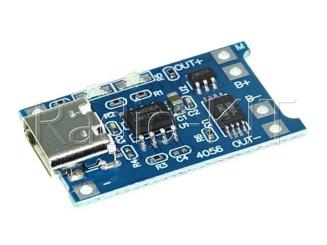 Плата зарядки Li-Ion аккумуляторов USBtype-c на TP4056 Модуль