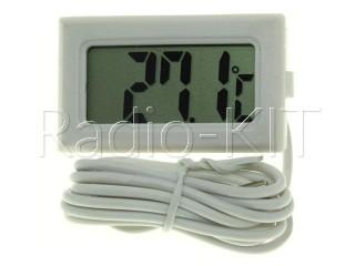 Термометр цифровой ЖКИ TPM-10 белый корпус, с датчиком на проводе 1м
