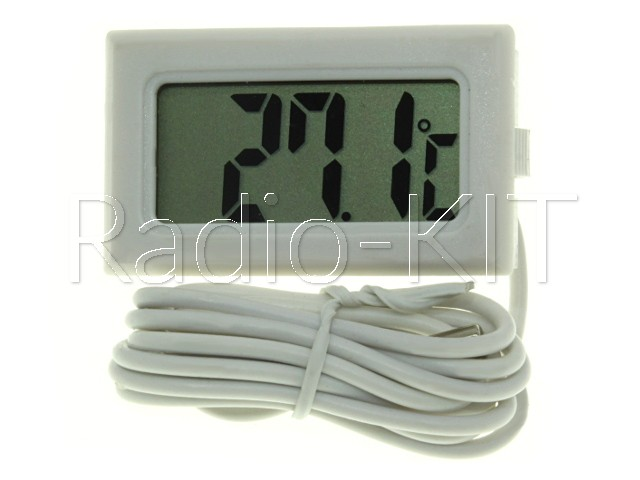 Термометр цифровой ЖКИ TPM-10 белый корпус с датчиком на проводе 2м