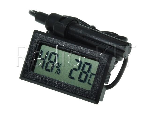 Термометр-гигрометр цифровой ЖКИ прямоугольный черный TPM-20 датчик на проводе