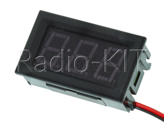 Вольтметр цифровой AC 220V с LED-индикатором 0.56 дюйма красный, корпус черный