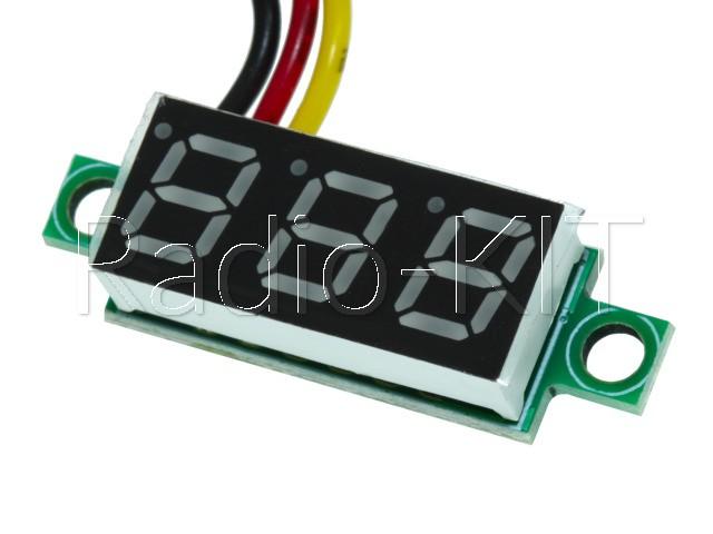 Вольтметр цифровой DC 0-100V с LED-индикатором 0.28 дюйма синий, без корпуса