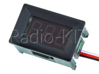 Вольтметр цифровой DC 0- 30V с LED-индикатором 0.36 дюйма зеленый, корпус черный  DSN-DVM-368K