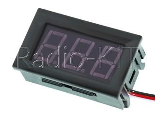 Вольтметр цифровой DC 0-100V с LED-индикатором 0.56 дюйма зеленый, корпус черный