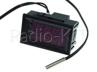 """Терморегулятор цифровой DC12V XD-2048 индикатор 0,56"""" красно-синего свечения, врезное исполнение"""