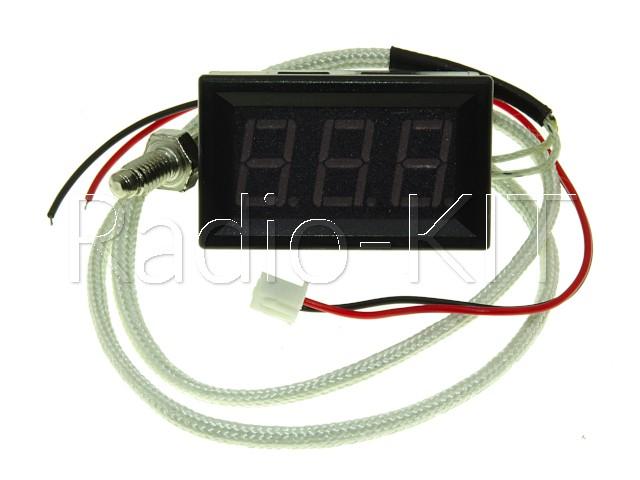 Термометр цифровой с LED-индикатором 0.56 дюйма синий XH-B310, черный корпус, термопара на проводе